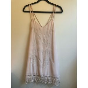 Pale Pink/Nude Flowy Embroidered Dress
